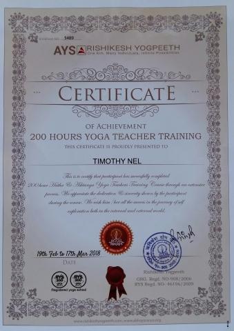 Timothy Nel_Yoga Teacher Certificate